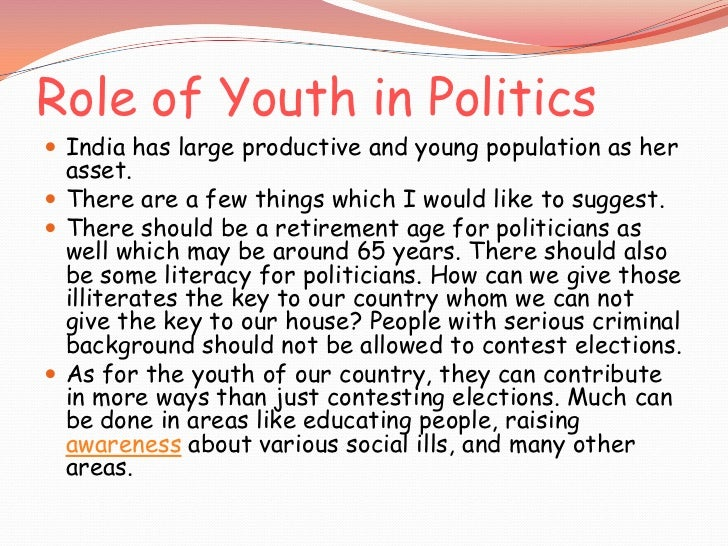 essay youth politics india